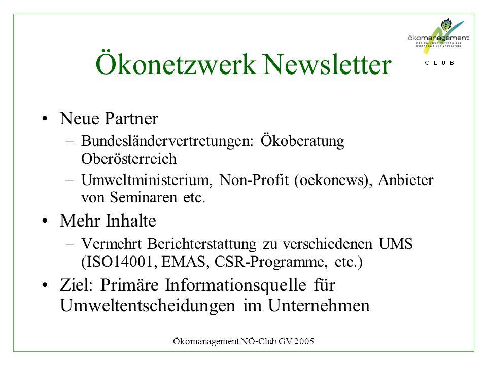 Ökomanagement NÖ-Club GV 2005 Ökonetzwerk Newsletter Neue Partner –Bundesländervertretungen: Ökoberatung Oberösterreich –Umweltministerium, Non-Profit (oekonews), Anbieter von Seminaren etc.