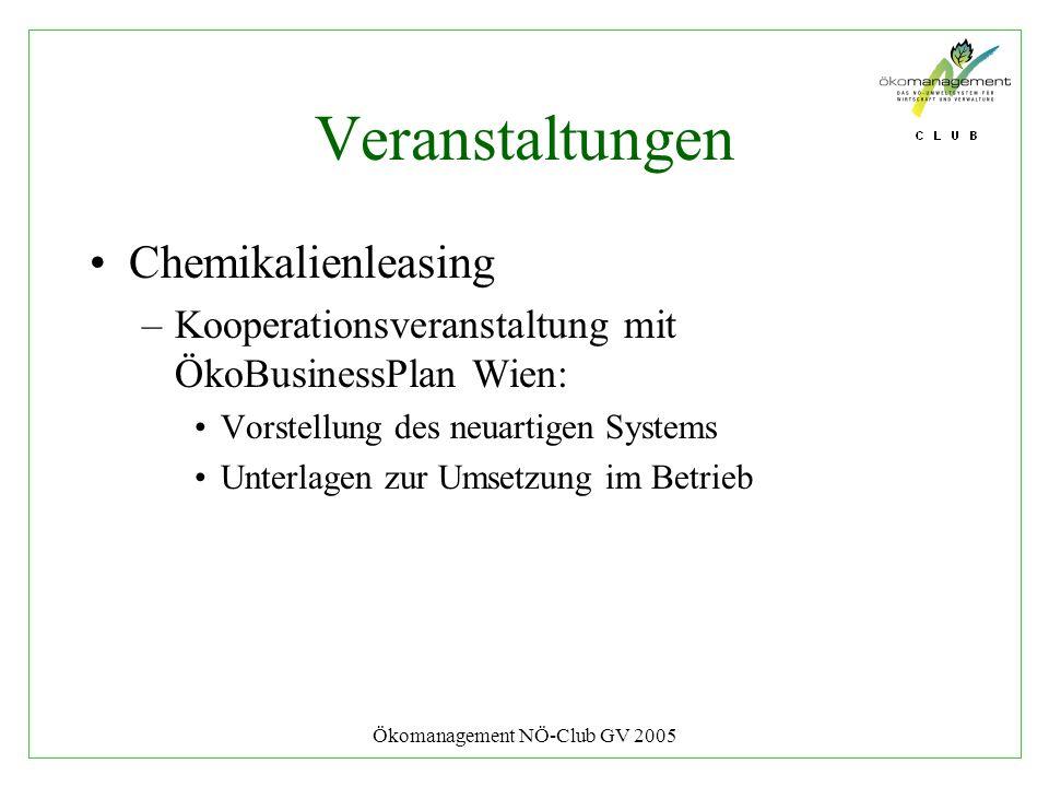 Ökomanagement NÖ-Club GV 2005 Veranstaltungen Chemikalienleasing –Kooperationsveranstaltung mit ÖkoBusinessPlan Wien: Vorstellung des neuartigen Syste