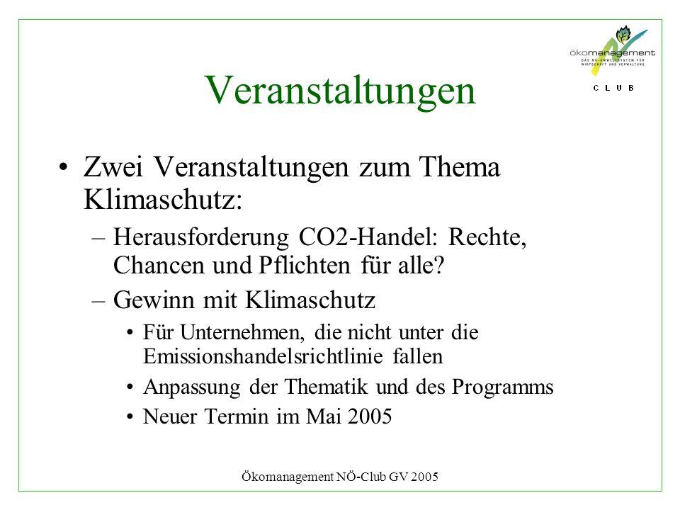 Ökomanagement NÖ-Club GV 2005 Veranstaltungen Zwei Veranstaltungen zum Thema Klimaschutz: –Herausforderung CO2-Handel: Rechte, Chancen und Pflichten f