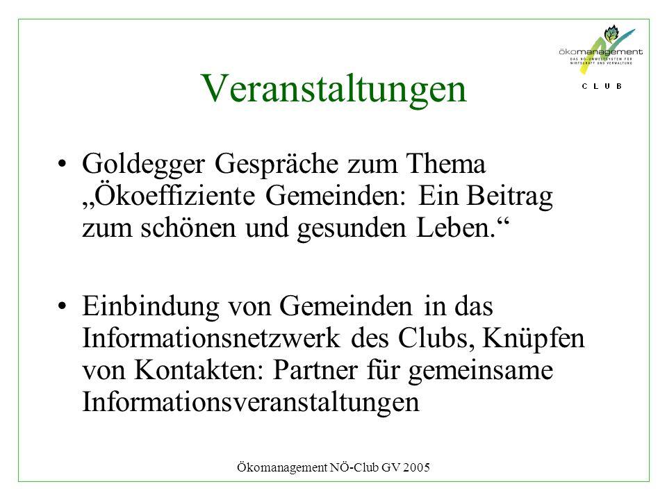 Ökomanagement NÖ-Club GV 2005 Veranstaltungen Goldegger Gespräche zum Thema Ökoeffiziente Gemeinden: Ein Beitrag zum schönen und gesunden Leben. Einbi