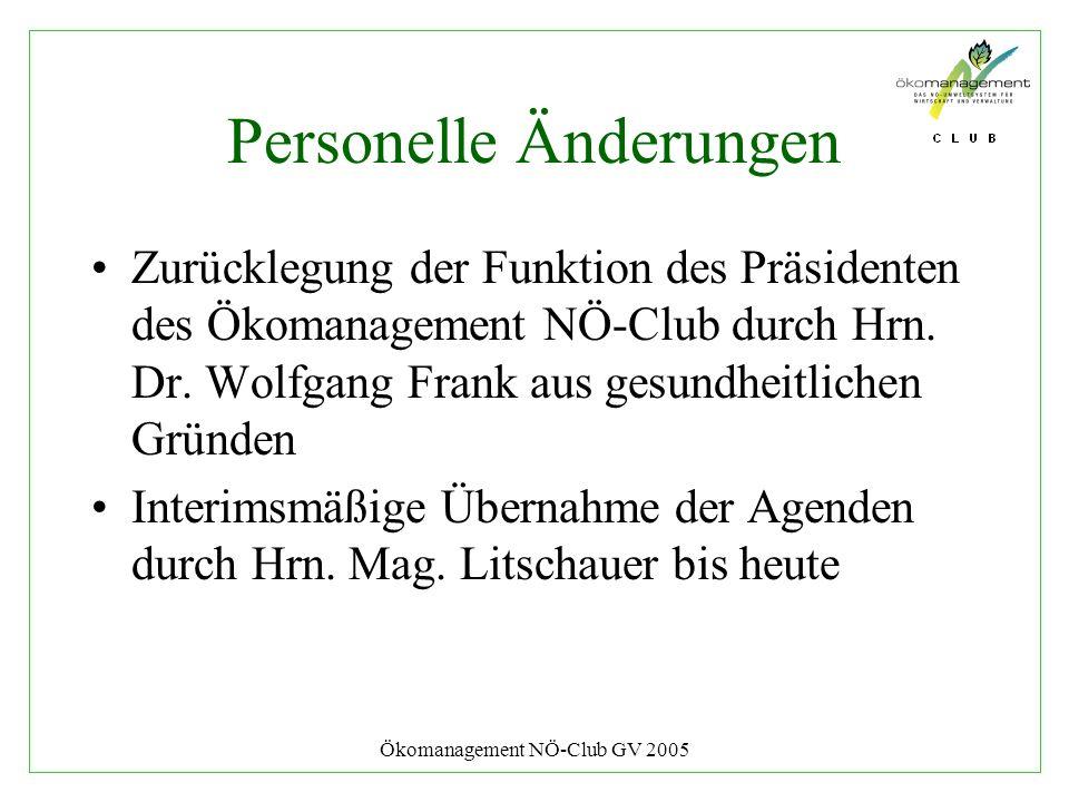Ökomanagement NÖ-Club GV 2005 Personelle Änderungen Zurücklegung der Funktion des Präsidenten des Ökomanagement NÖ-Club durch Hrn. Dr. Wolfgang Frank