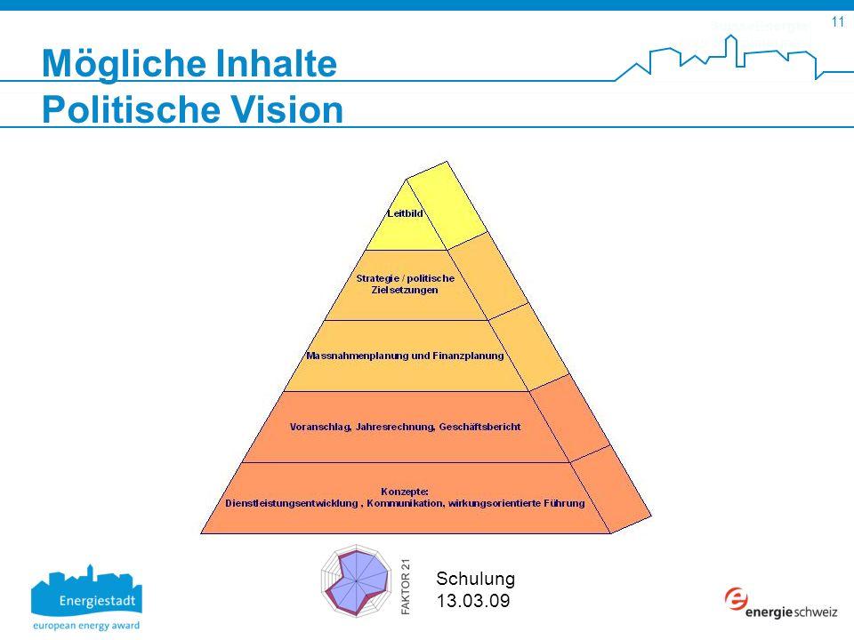 SuisseEnergie pour les communes 11 Schulung 13.03.09 Mögliche Inhalte Politische Vision