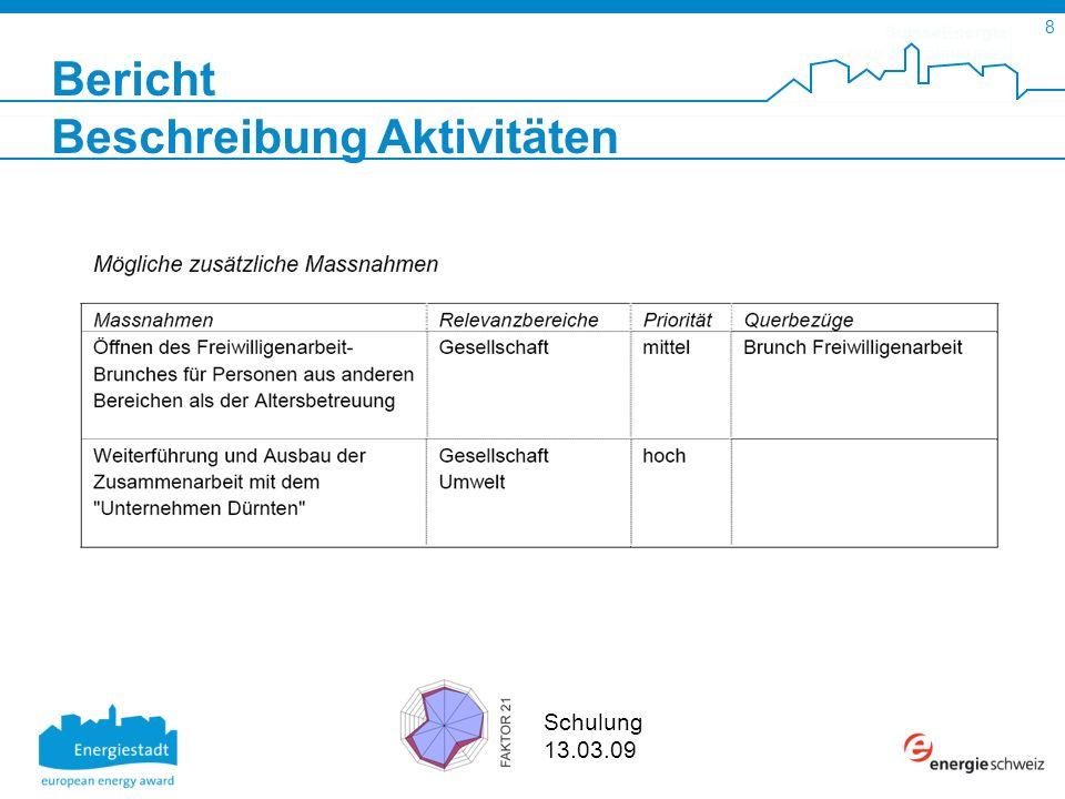 SuisseEnergie pour les communes 8 Schulung 13.03.09 Bericht Beschreibung Aktivitäten