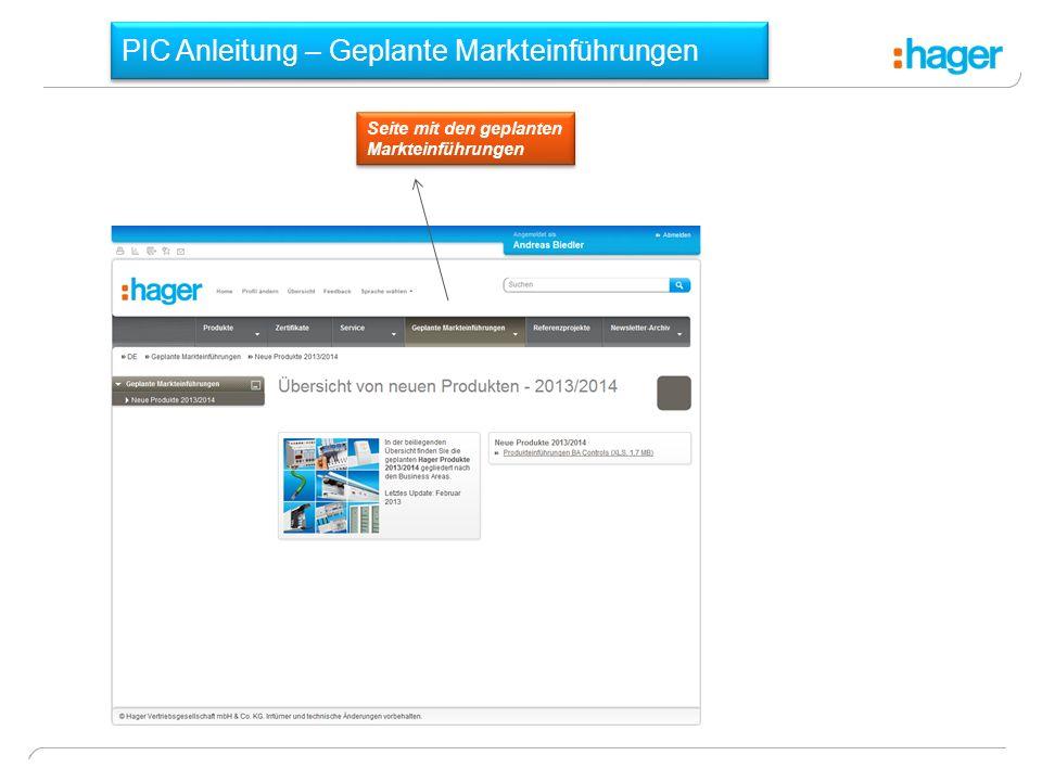 PIC Anleitung – Geplante Markteinführungen Seite mit den geplanten Markteinführungen