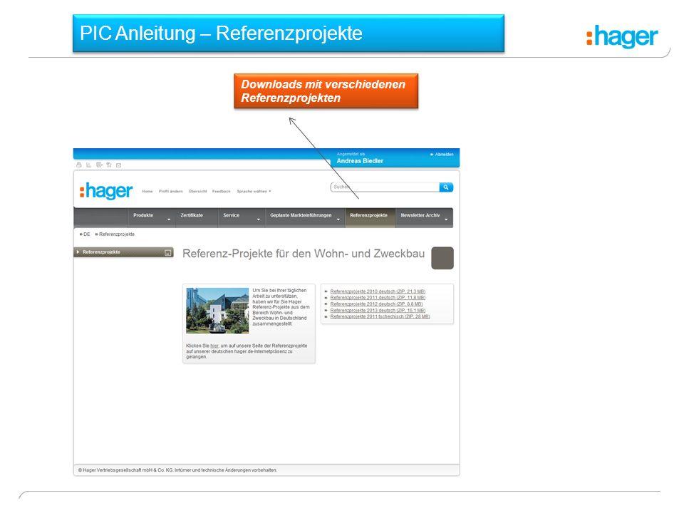 PIC Anleitung – Referenzprojekte Downloads mit verschiedenen Referenzprojekten