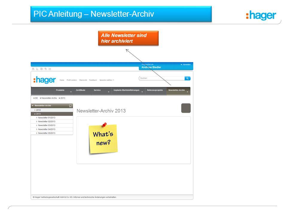 PIC Anleitung – Newsletter-Archiv Alle Newsletter sind hier archiviert