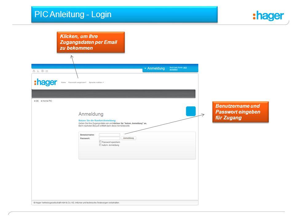 PIC Anleitung - Login Klicken, um Ihre Zugangsdaten per Email zu bekommen Benutzername und Passwort eingeben für Zugang