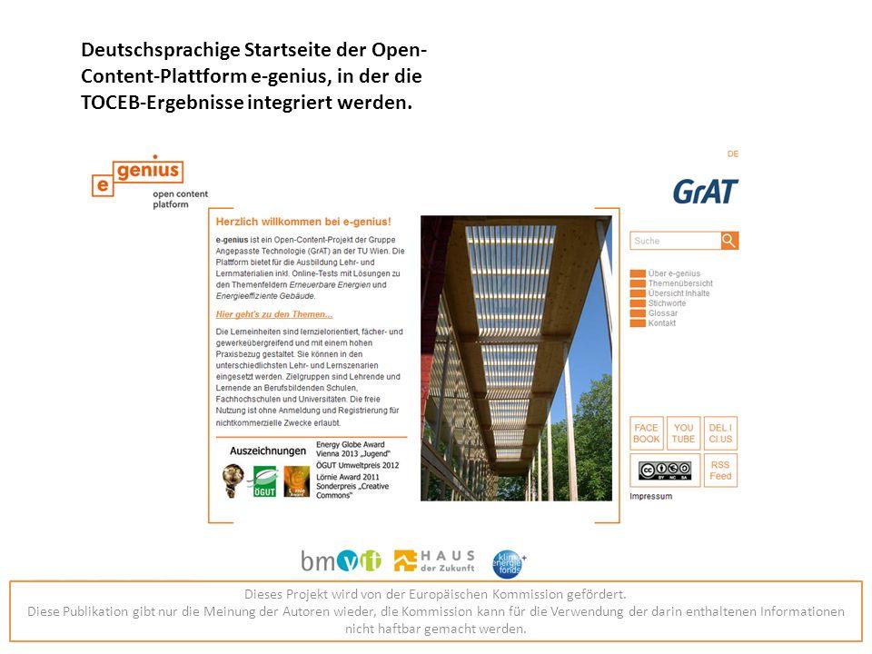 Deutschsprachige Startseite der Open- Content-Plattform e-genius, in der die TOCEB-Ergebnisse integriert werden.