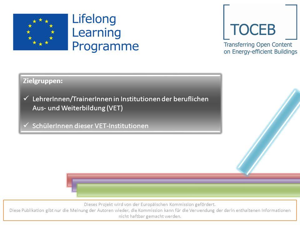 Zielgruppen: LehrerInnen/TrainerInnen in Institutionen der beruflichen Aus- und Weiterbildung (VET) SchülerInnen dieser VET-Institutionen Dieses Projekt wird von der Europäischen Kommission gefördert.