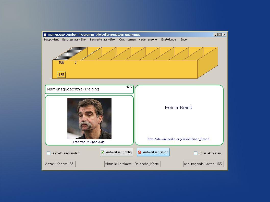 Testen Sie die kostenfreie Prüf-Version von memoCARD - mit zahlreichen kostenfreien Import-Dateien: www.memocard.dewww.memocard.de Die komplette Liste ist etwa doppelt so lang …