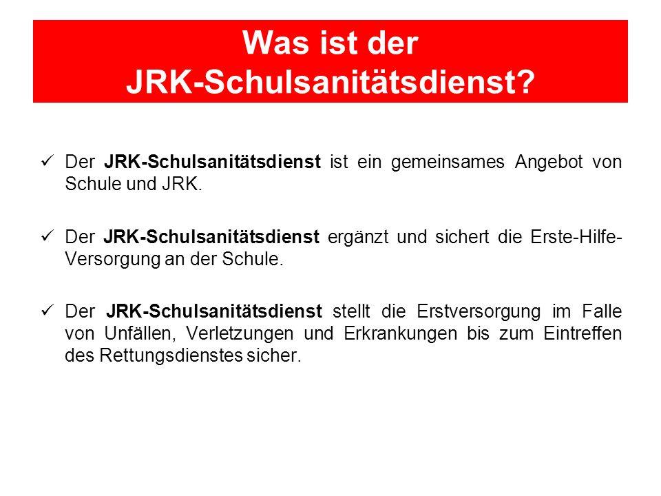 Was ist der JRK-Schulsanitätsdienst? Der JRK-Schulsanitätsdienst ist ein gemeinsames Angebot von Schule und JRK. Der JRK-Schulsanitätsdienst ergänzt u