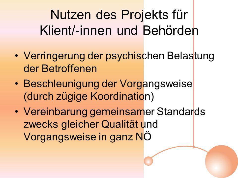 Nutzen des Projekts für Klient/-innen und Behörden Verringerung der psychischen Belastung der Betroffenen Beschleunigung der Vorgangsweise (durch zügige Koordination) Vereinbarung gemeinsamer Standards zwecks gleicher Qualität und Vorgangsweise in ganz NÖ