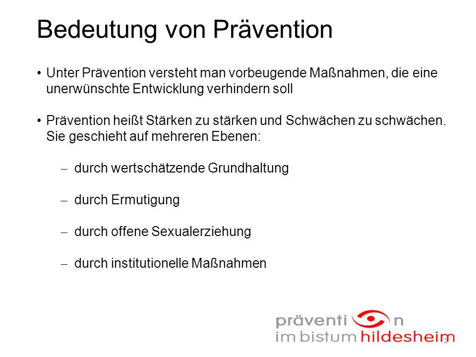 Bedeutung von Prävention Unter Prävention versteht man vorbeugende Maßnahmen, die eine unerwünschte Entwicklung verhindern soll Prävention heißt Stärken zu stärken und Schwächen zu schwächen.