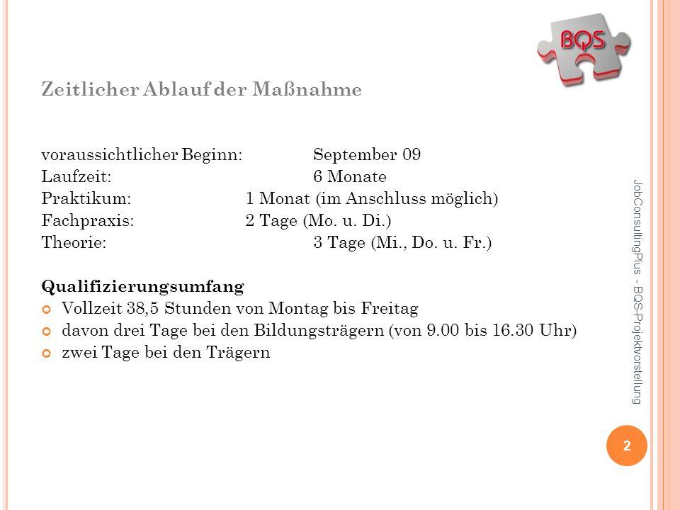 Zeitlicher Ablauf der Maßnahme voraussichtlicher Beginn: September 09 Laufzeit:6 Monate Praktikum: 1 Monat (im Anschluss möglich) Fachpraxis:2 Tage (M