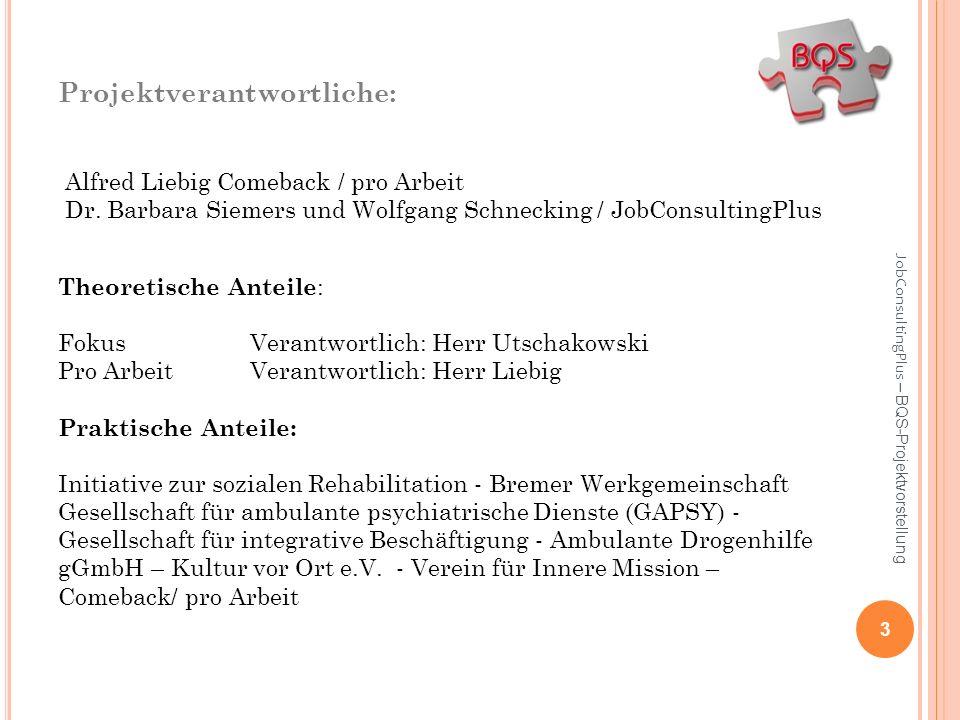 Projektverantwortliche: Alfred Liebig Comeback / pro Arbeit Dr. Barbara Siemers und Wolfgang Schnecking / JobConsultingPlus Theoretische Anteile : Fok