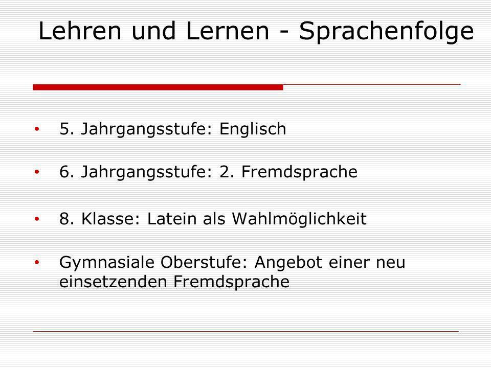 Lehren und Lernen - Sprachenfolge 5.Jahrgangsstufe: Englisch 6.