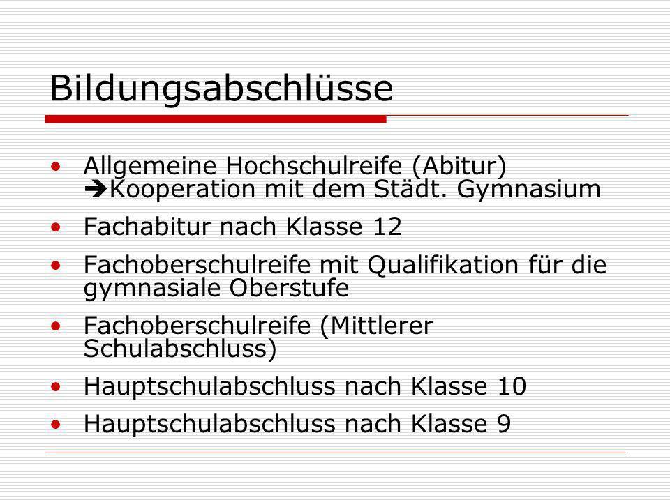 Bildungsabschlüsse Allgemeine Hochschulreife (Abitur) Kooperation mit dem Städt.