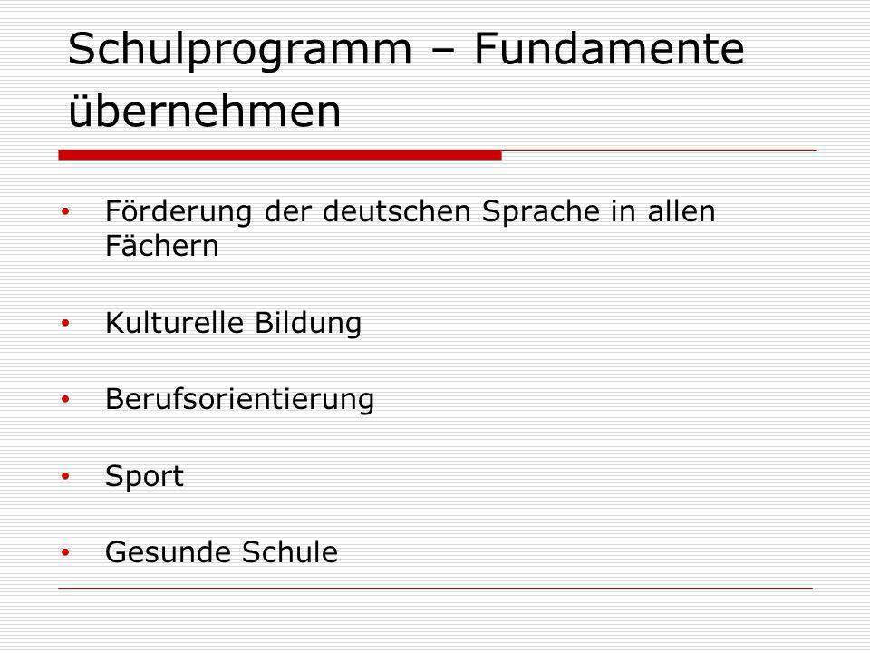 Schulprogramm – Fundamente übernehmen Förderung der deutschen Sprache in allen Fächern Kulturelle Bildung Berufsorientierung Sport Gesunde Schule