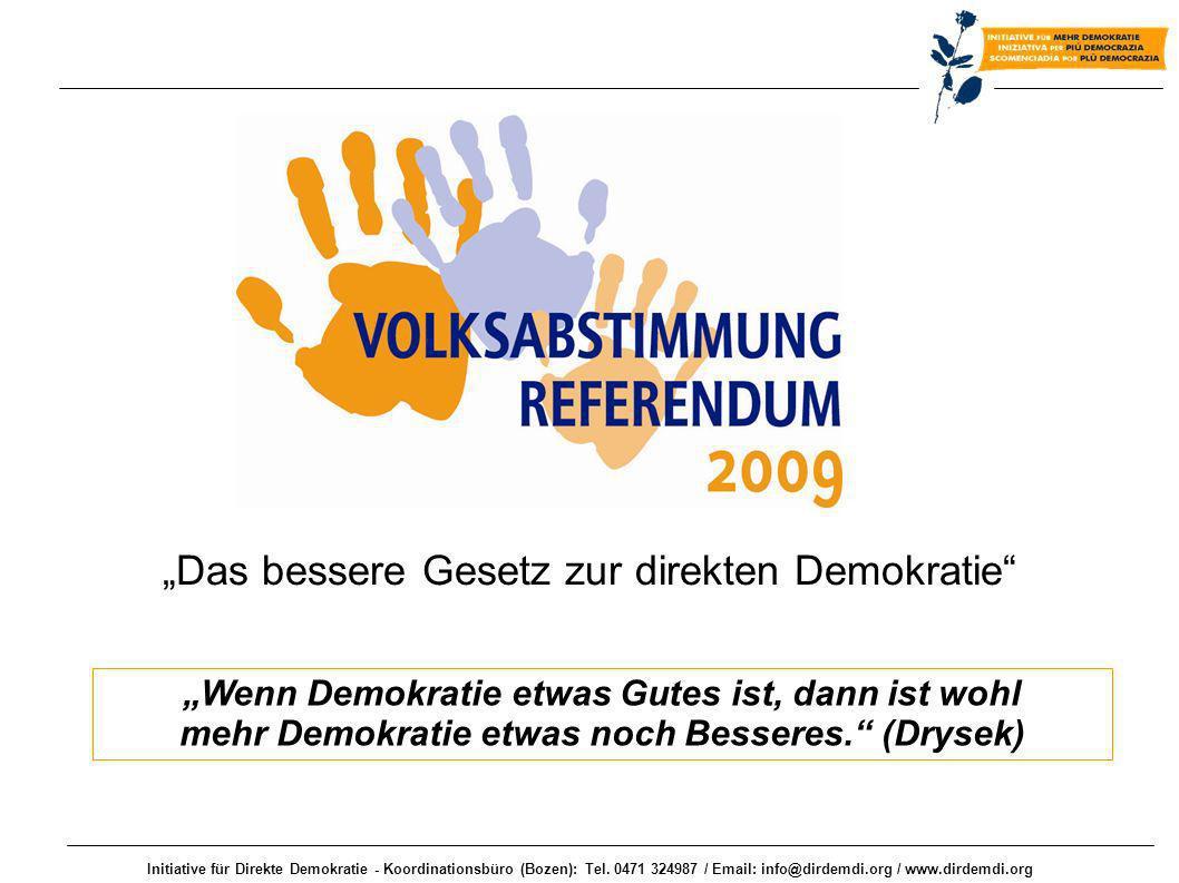 Initiative für Direkte Demokratie - Koordinationsbüro (Bozen): Tel. 0471 324987 / Email: info@dirdemdi.org / www.dirdemdi.org Wenn Demokratie etwas Gu