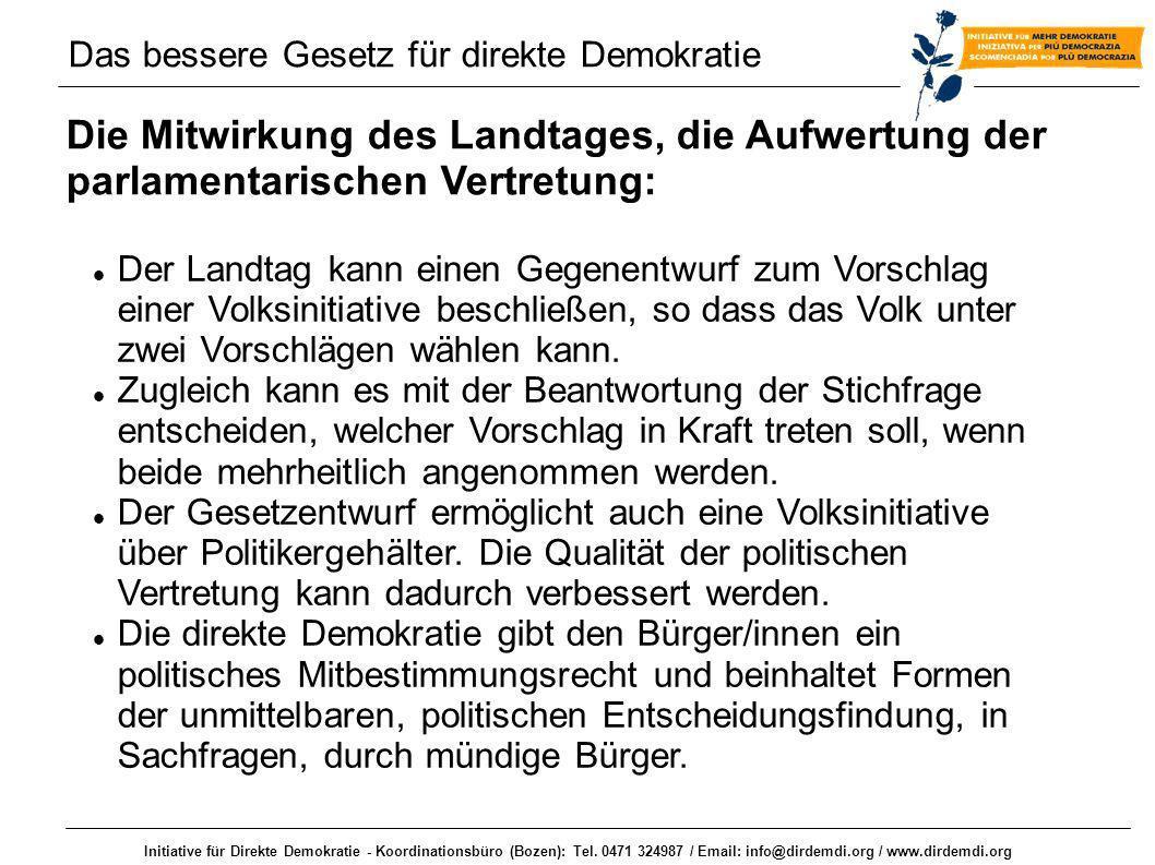 Initiative für Direkte Demokratie - Koordinationsbüro (Bozen): Tel. 0471 324987 / Email: info@dirdemdi.org / www.dirdemdi.org Die Mitwirkung des Landt