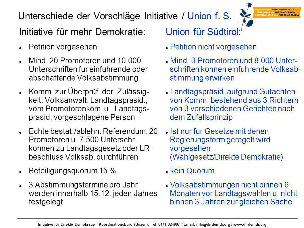 Initiative für Direkte Demokratie - Koordinationsbüro (Bozen): Tel. 0471 324987 / Email: info@dirdemdi.org / www.dirdemdi.org Unterschiede der Vorschl