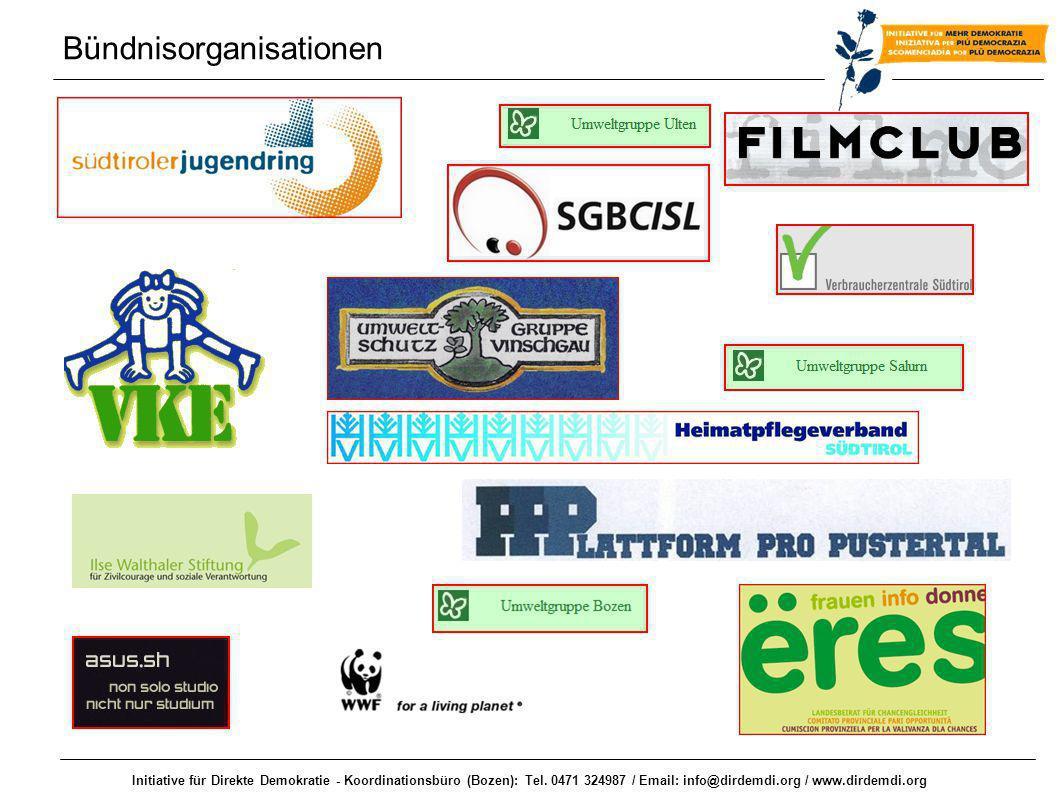Initiative für Direkte Demokratie - Koordinationsbüro (Bozen): Tel. 0471 324987 / Email: info@dirdemdi.org / www.dirdemdi.org Bündnisorganisationen
