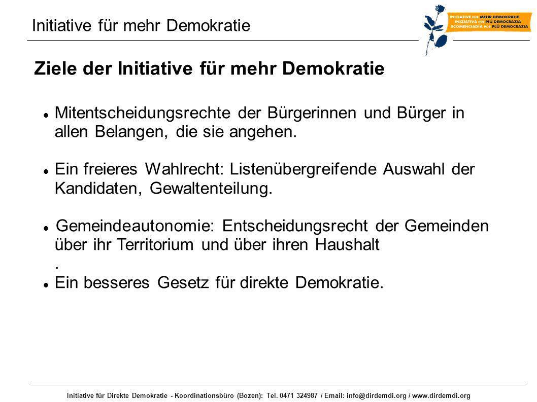 Initiative für Direkte Demokratie - Koordinationsbüro (Bozen): Tel. 0471 324987 / Email: info@dirdemdi.org / www.dirdemdi.org Initiative für mehr Demo