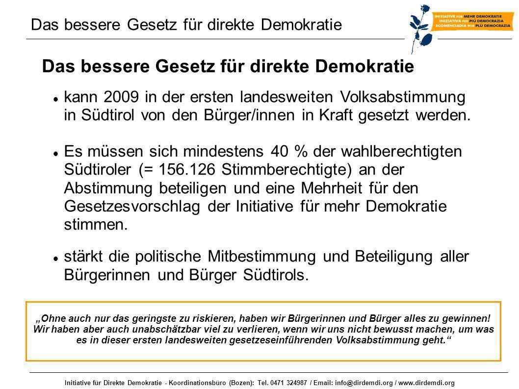 Initiative für Direkte Demokratie - Koordinationsbüro (Bozen): Tel. 0471 324987 / Email: info@dirdemdi.org / www.dirdemdi.org Das bessere Gesetz für d