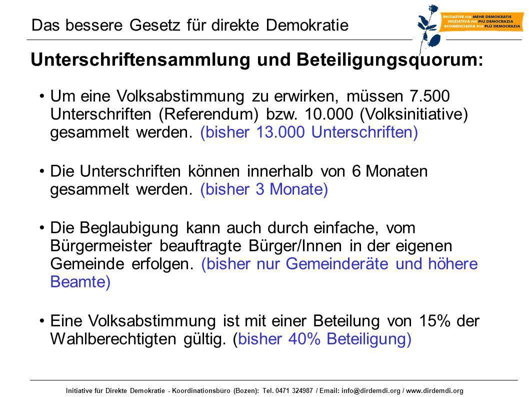 Initiative für Direkte Demokratie - Koordinationsbüro (Bozen): Tel. 0471 324987 / Email: info@dirdemdi.org / www.dirdemdi.org Unterschriftensammlung u