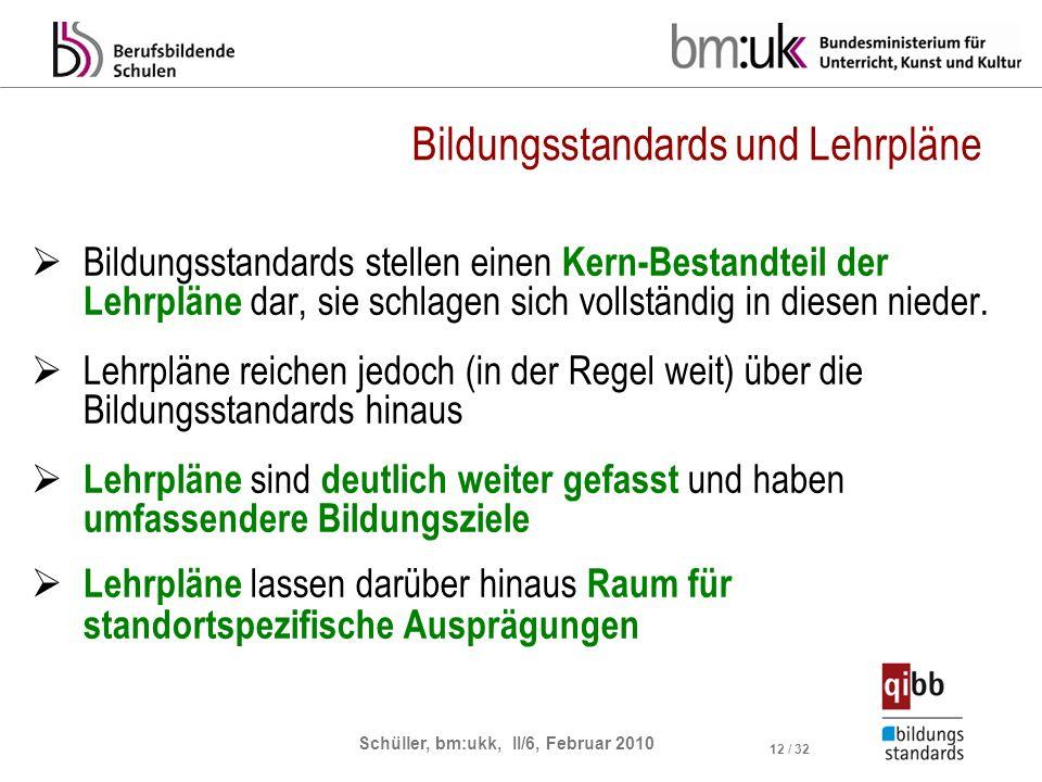 Schüller, bm:ukk, II/6, Februar 2010 12 / 32 Bildungsstandards und Lehrpläne Bildungsstandards stellen einen Kern-Bestandteil der Lehrpläne dar, sie schlagen sich vollständig in diesen nieder.