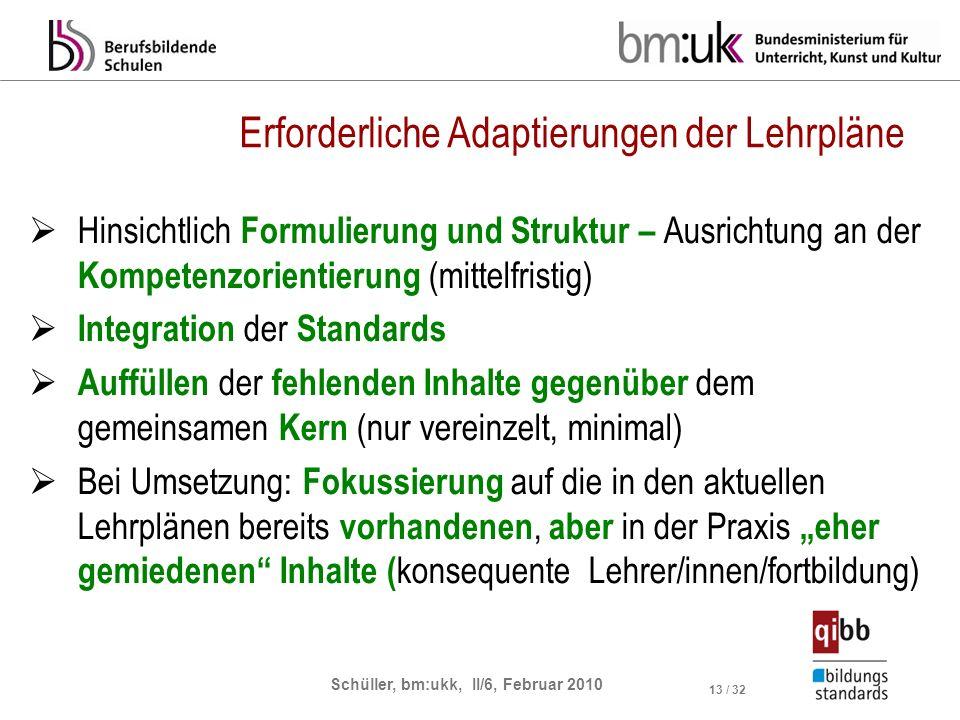 Schüller, bm:ukk, II/6, Februar 2010 13 / 32 Erforderliche Adaptierungen der Lehrpläne Hinsichtlich Formulierung und Struktur – Ausrichtung an der Kom
