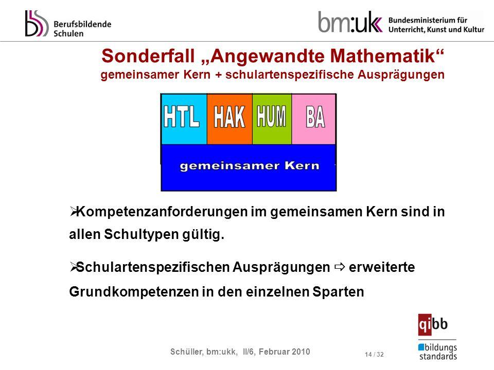 Schüller, bm:ukk, II/6, Februar 2010 14 / 32 Kompetenzanforderungen im gemeinsamen Kern sind in allen Schultypen gültig. Schulartenspezifischen Ausprä