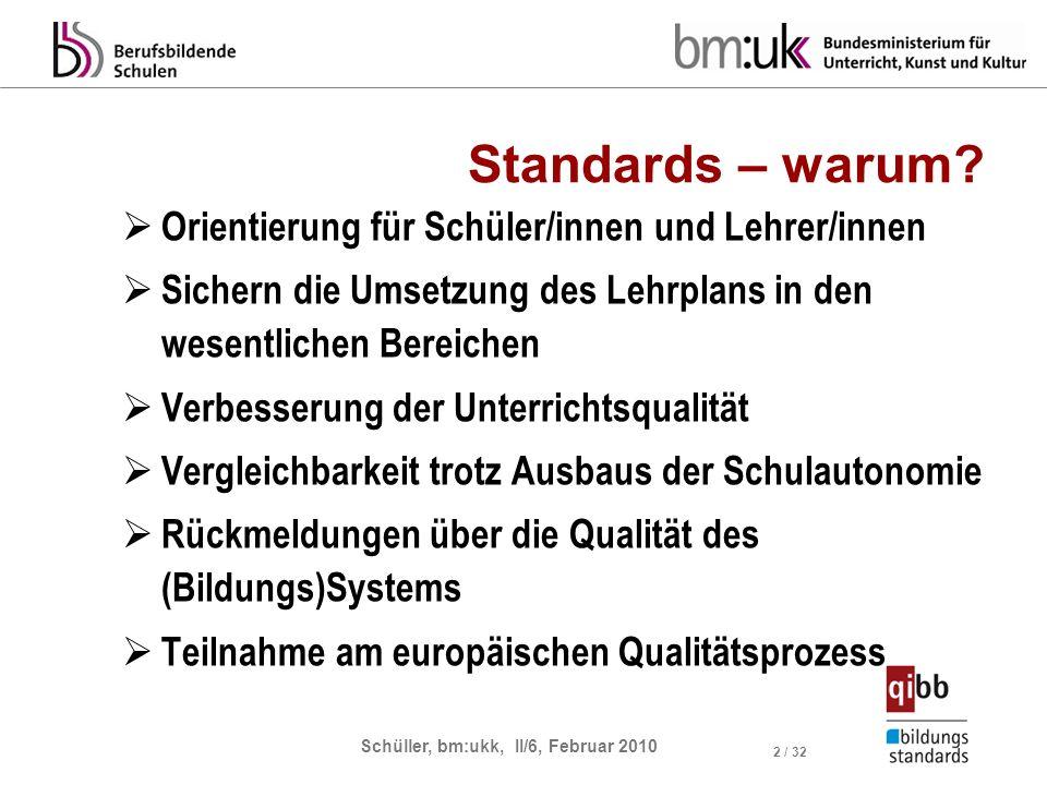 Schüller, bm:ukk, II/6, Februar 2010 3 / 32 Standards und Qualität Bildungsstandards LehrpläneInput-Orientierung Output-Orientierung Prozessstandards (Prozessqualität) Produktstandards (Produktqualität) In der Sektion Berufsbildung werden Bildungsstandards als Regelstandards entwickelt, die nachhaltiges Wissen festlegen.