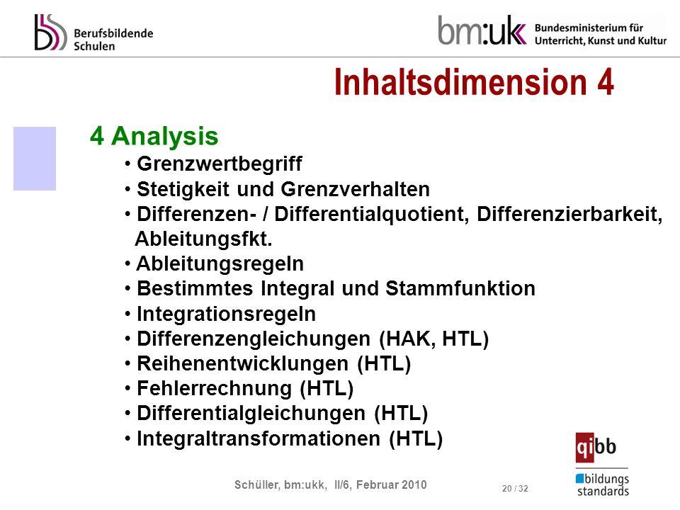 Schüller, bm:ukk, II/6, Februar 2010 20 / 32 4 Analysis Grenzwertbegriff Stetigkeit und Grenzverhalten Differenzen- / Differentialquotient, Differenzierbarkeit, Ableitungsfkt.