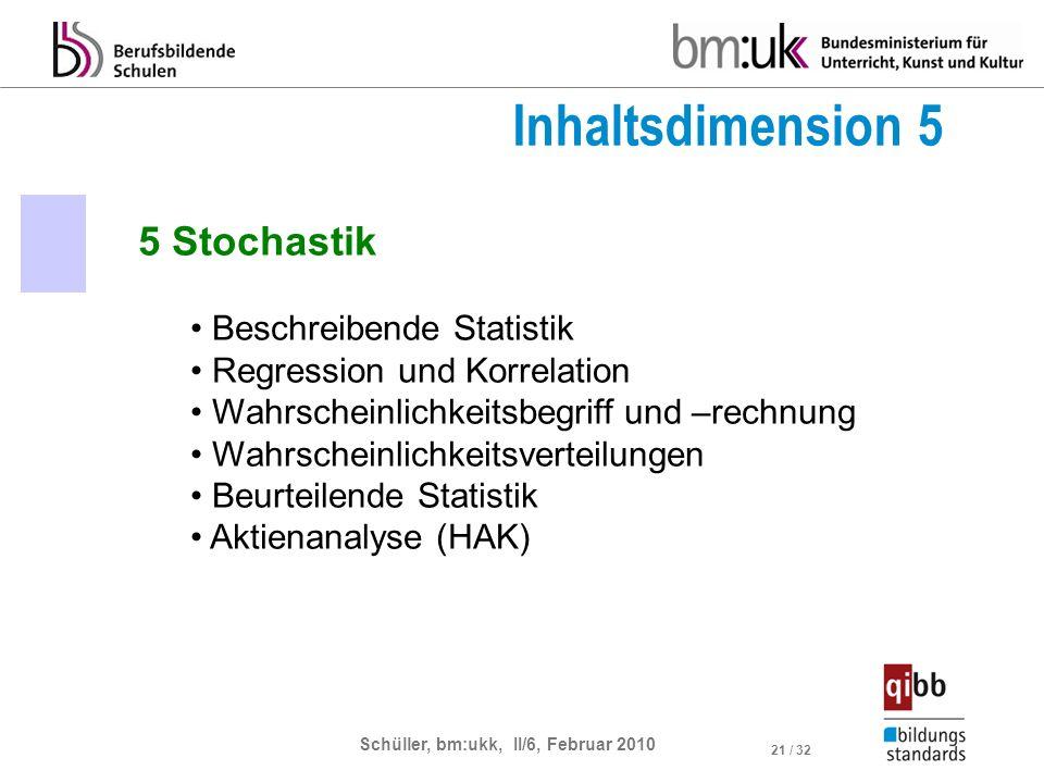 Schüller, bm:ukk, II/6, Februar 2010 21 / 32 5 Stochastik Beschreibende Statistik Regression und Korrelation Wahrscheinlichkeitsbegriff und –rechnung Wahrscheinlichkeitsverteilungen Beurteilende Statistik Aktienanalyse (HAK) Inhaltsdimension 5