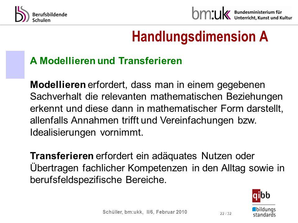 Schüller, bm:ukk, II/6, Februar 2010 22 / 32 Handlungsdimension A A Modellieren und Transferieren Modellieren erfordert, dass man in einem gegebenen S