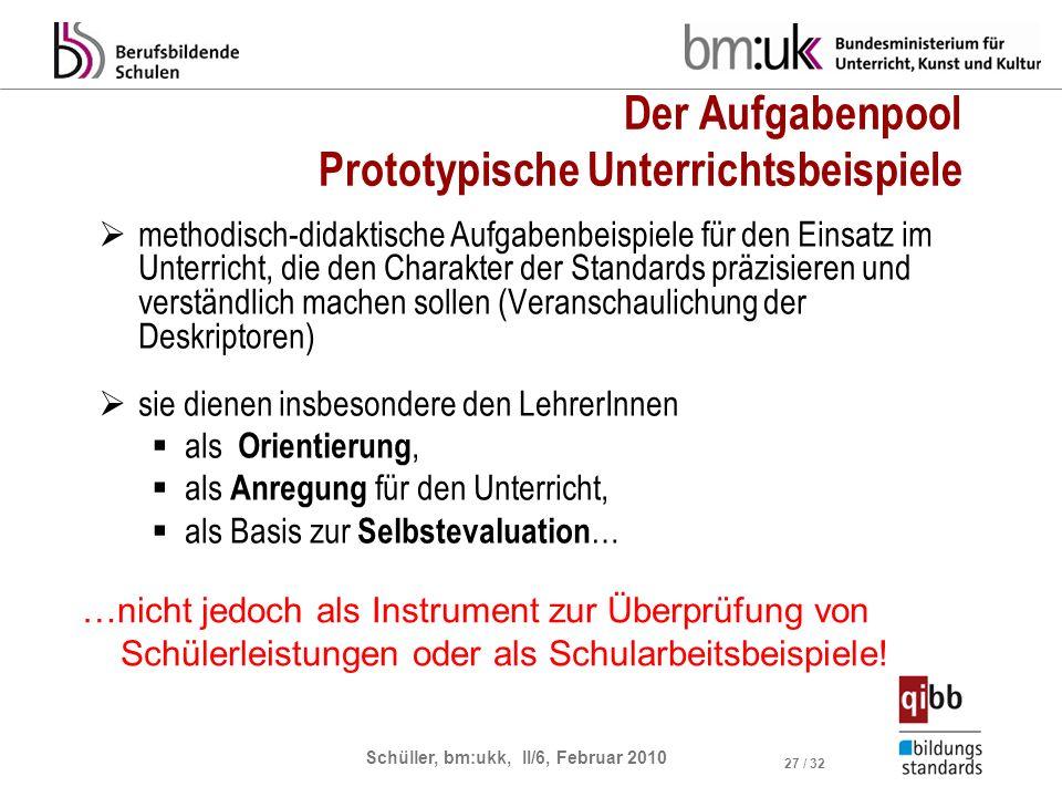 Schüller, bm:ukk, II/6, Februar 2010 27 / 32 Der Aufgabenpool Prototypische Unterrichtsbeispiele methodisch-didaktische Aufgabenbeispiele für den Eins