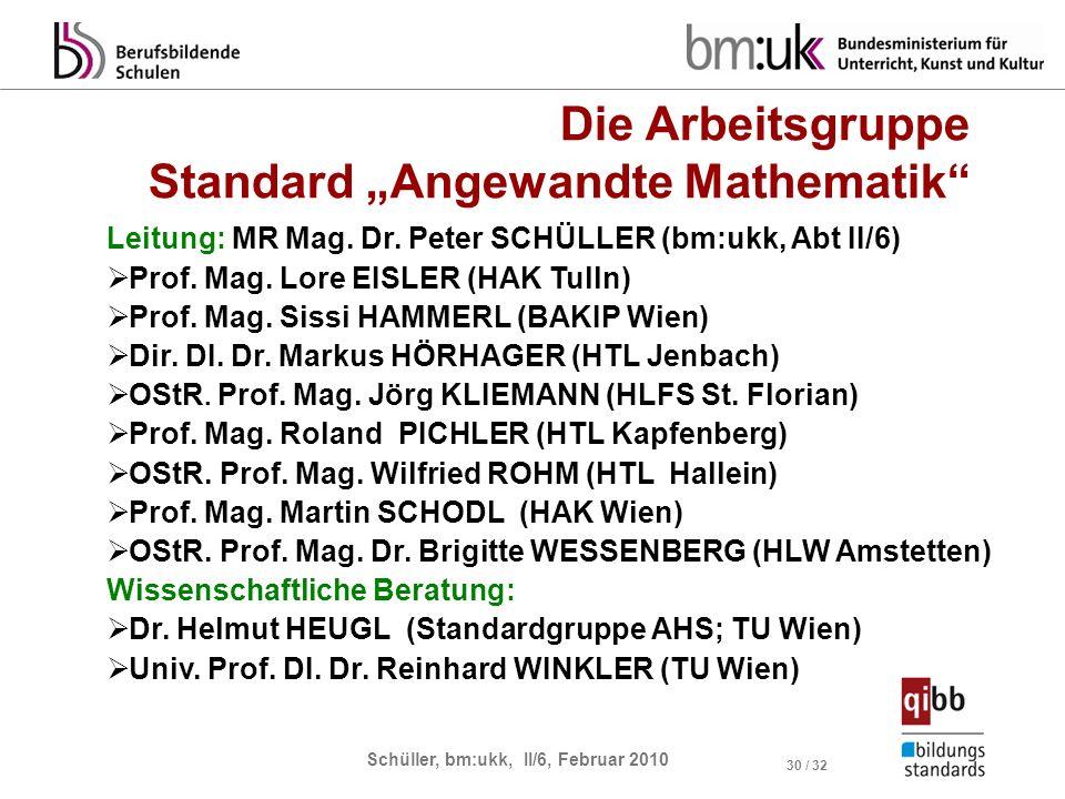 Schüller, bm:ukk, II/6, Februar 2010 30 / 32 Leitung: MR Mag. Dr. Peter SCHÜLLER (bm:ukk, Abt II/6) Prof. Mag. Lore EISLER (HAK Tulln) Prof. Mag. Siss