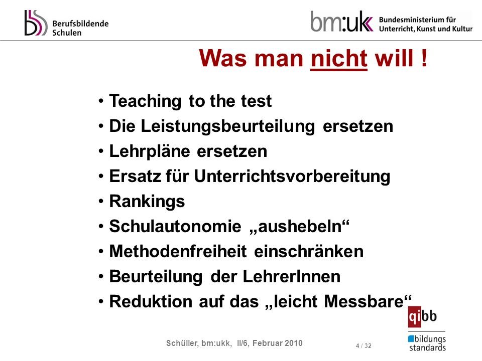 Schüller, bm:ukk, II/6, Februar 2010 4 / 32 Was man nicht will ! Teaching to the test Die Leistungsbeurteilung ersetzen Lehrpläne ersetzen Ersatz für