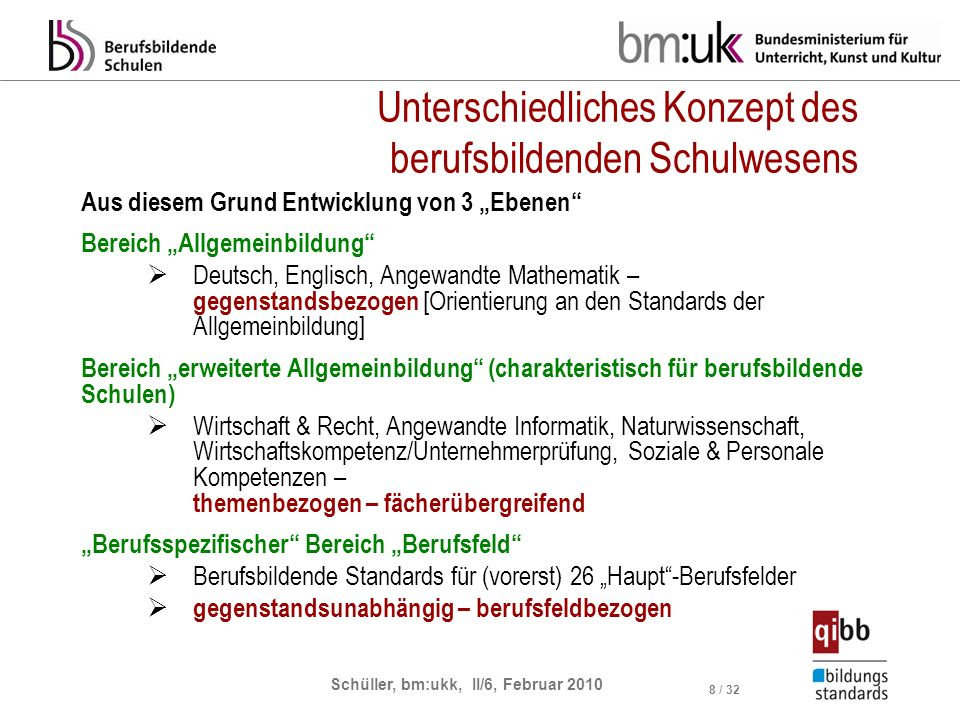 Schüller, bm:ukk, II/6, Februar 2010 8 / 32 Unterschiedliches Konzept des berufsbildenden Schulwesens Aus diesem Grund Entwicklung von 3 Ebenen Bereic