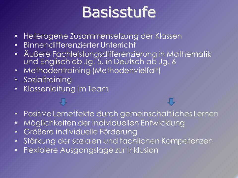 Basisstufe Heterogene Zusammensetzung der Klassen Binnendifferenzierter Unterricht Äußere Fachleistungsdifferenzierung in Mathematik und Englisch ab Jg.