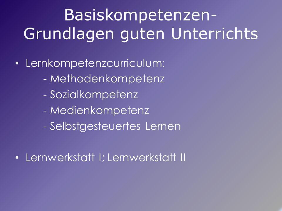 Basiskompetenzen- Grundlagen guten Unterrichts Lernkompetenzcurriculum: - Methodenkompetenz - Sozialkompetenz - Medienkompetenz - Selbstgesteuertes Lernen Lernwerkstatt I; Lernwerkstatt II