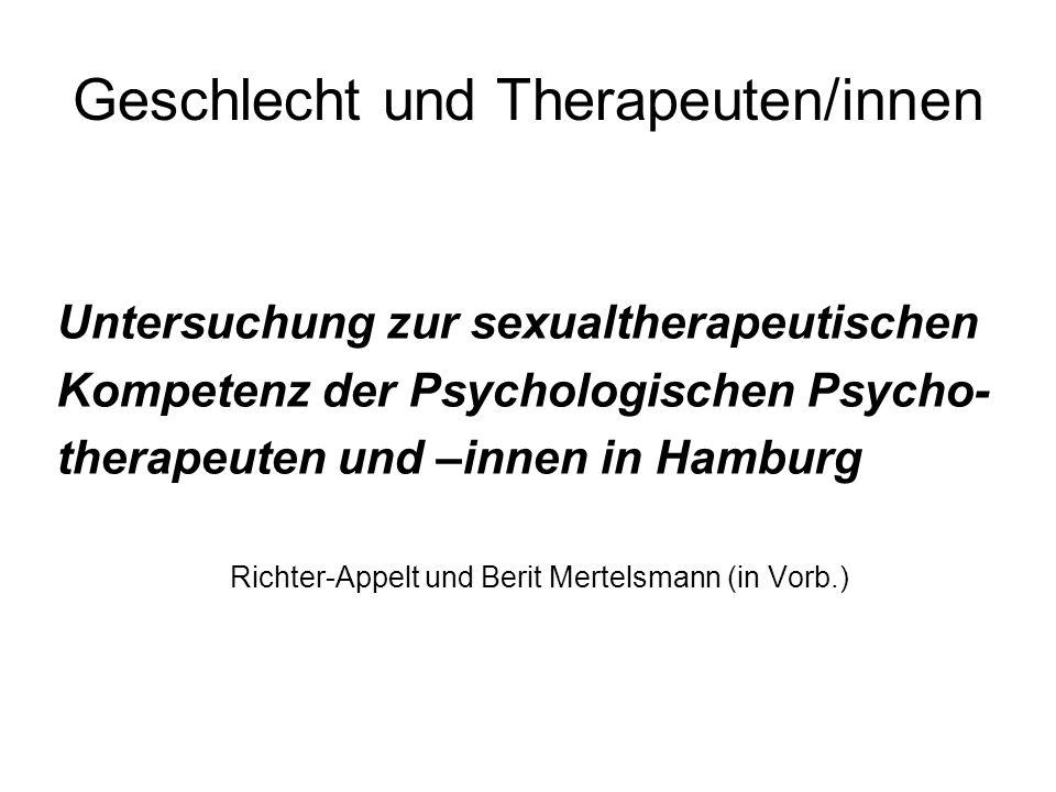 Geschlechterverhältnis Nwm PTK Hamburg 1290* 68% 31% Studie (Rücklauf 39%) 263 (193) 73% (70)27% Alter X (SD) 53,2(7,3) 53,6(6,7) Psych.
