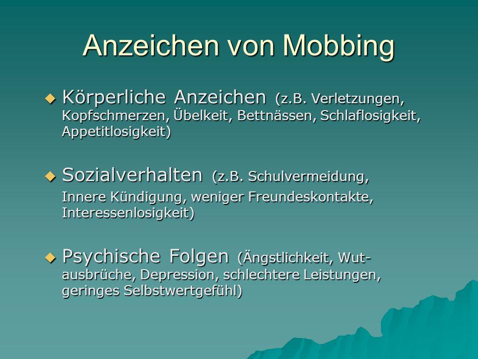 Anzeichen von Mobbing Körperliche Anzeichen (z.B. Verletzungen, Kopfschmerzen, Übelkeit, Bettnässen, Schlaflosigkeit, Appetitlosigkeit) Körperliche An