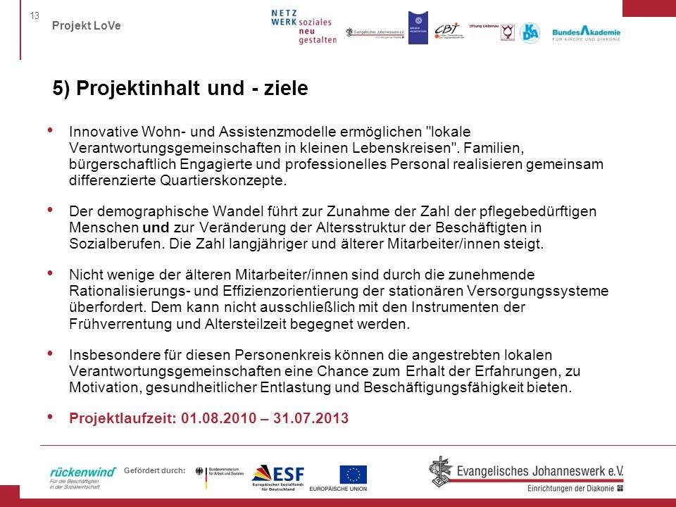 13 Projekt LoVe Gefördert durch: 5) Projektinhalt und - ziele Innovative Wohn- und Assistenzmodelle ermöglichen lokale Verantwortungsgemeinschaften in kleinen Lebenskreisen .