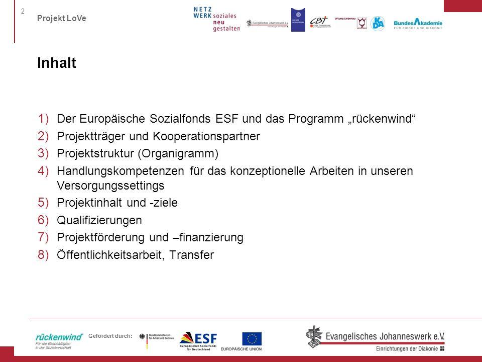 2 Projekt LoVe Gefördert durch: Inhalt 1) Der Europäische Sozialfonds ESF und das Programm rückenwind 2) Projektträger und Kooperationspartner 3) Proj