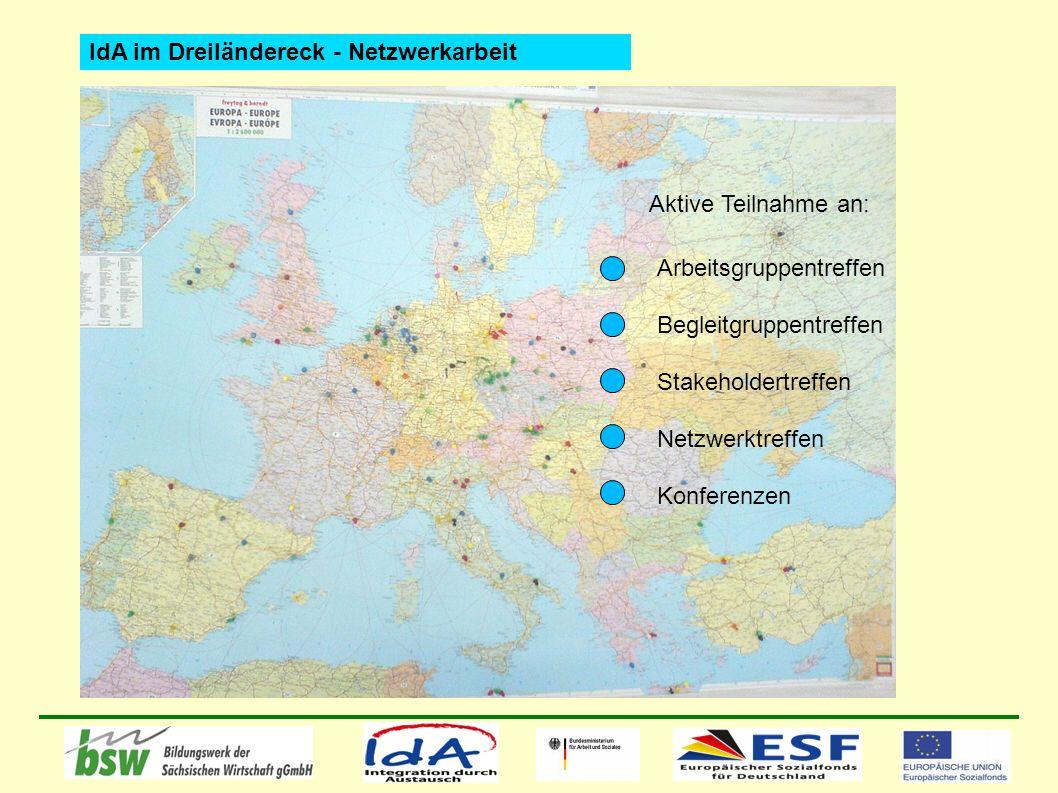 Arbeitsgruppentreffen Begleitgruppentreffen Stakeholdertreffen Netzwerktreffen Konferenzen Aktive Teilnahme an: IdA im Dreiländereck - Netzwerkarbeit