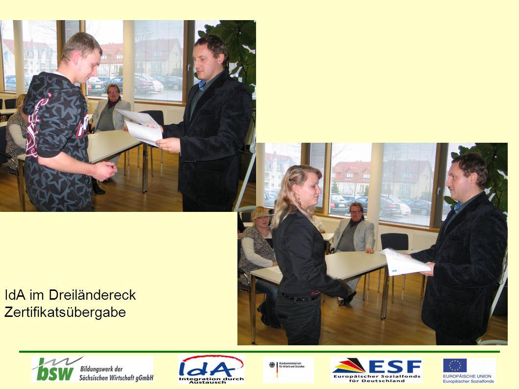 IdA im Dreiländereck Zertifikatsübergabe