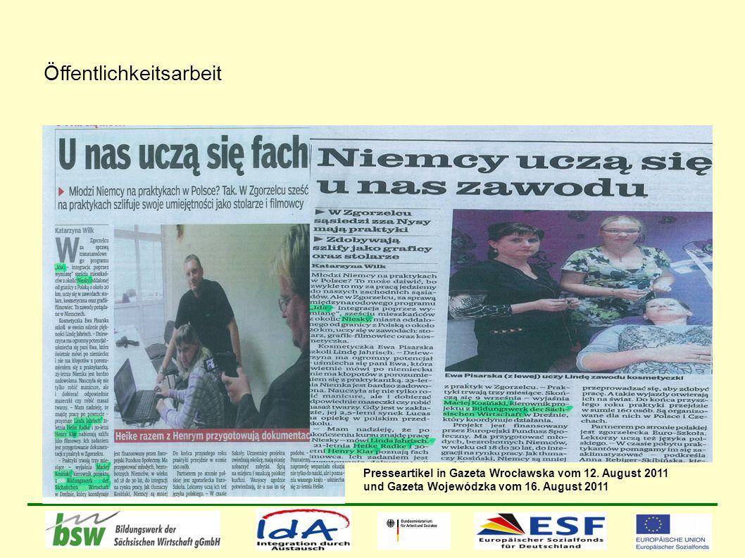 Öffentlichkeitsarbeit Presseartikel in Gazeta Wrocławska vom 12.