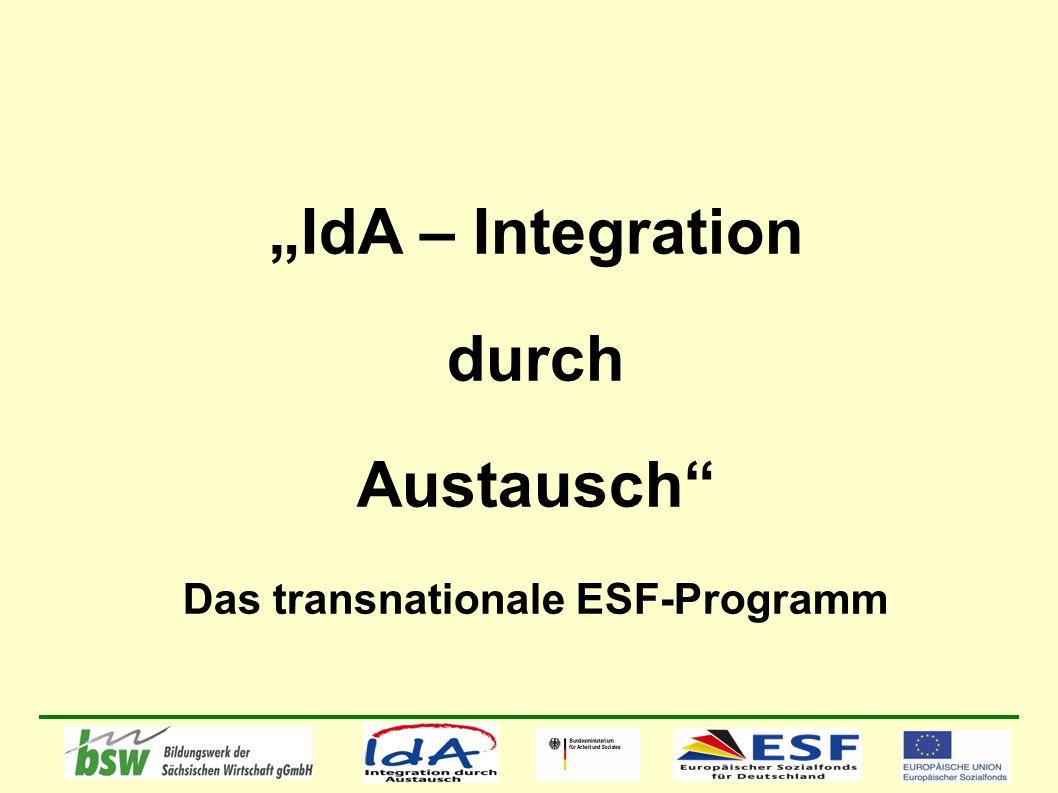 IdA – Integration durch Austausch Das transnationale ESF-Programm